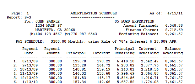 customer activity amortization schedule