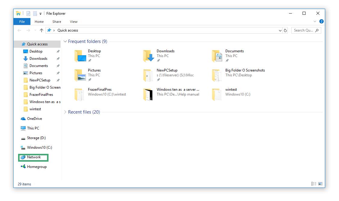Hardware Topics > Networking Frazer > Windows 10 as a Server