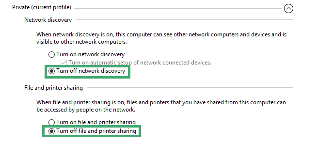 how to turn off network discovery and file sharing in windows 10